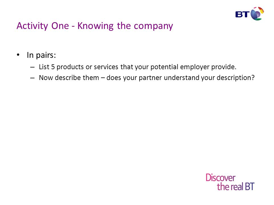 Activity One - Knowing the company