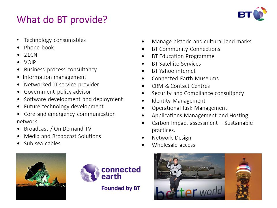 What do BT provide Technology consumables