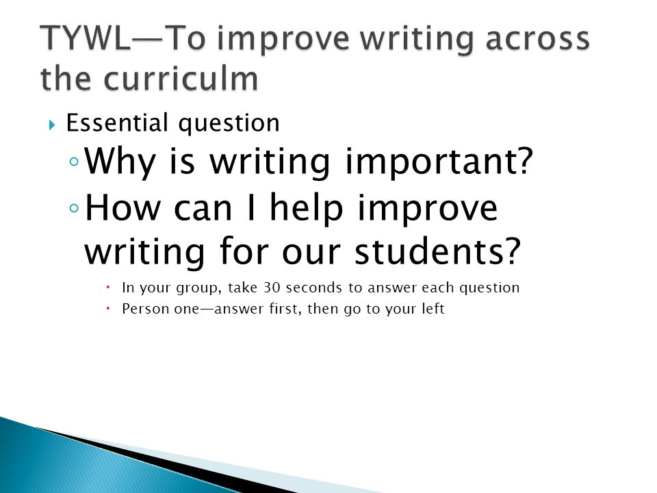 TYWL—To improve writing across the curriculm