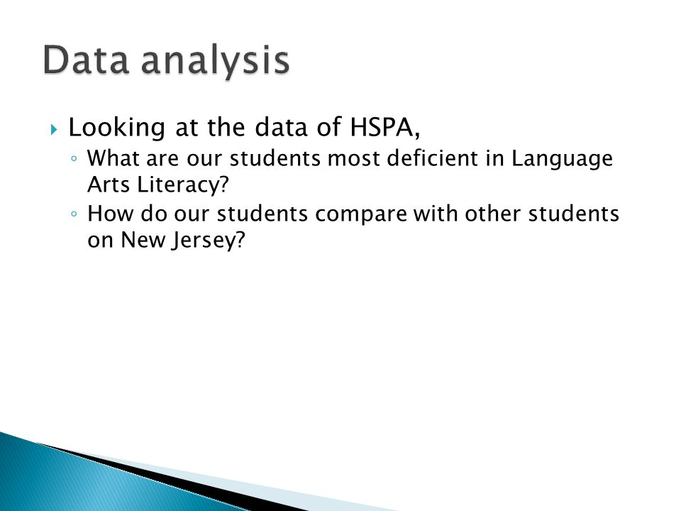 Data analysis Looking at the data of HSPA,