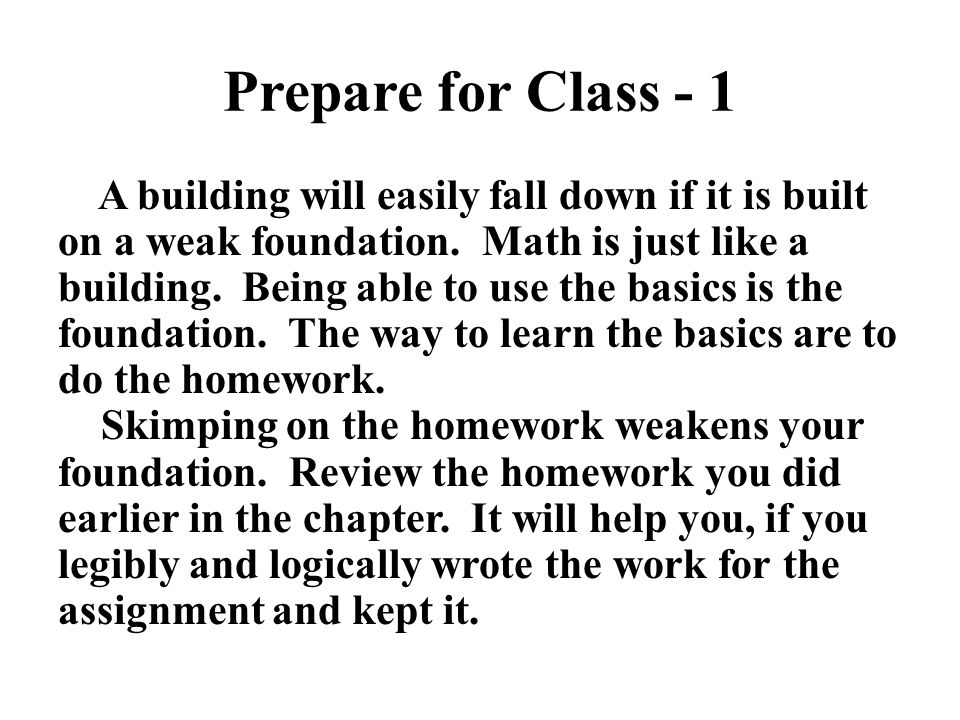 Prepare for Class - 1