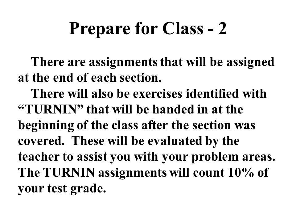 Prepare for Class - 2