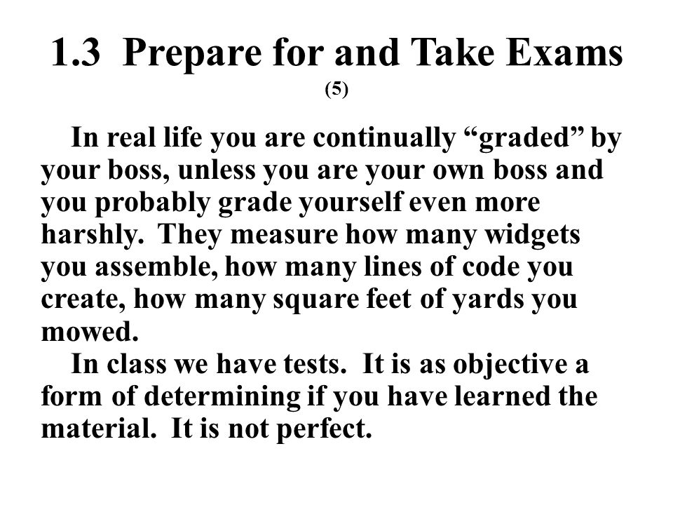 1.3 Prepare for and Take Exams (5)