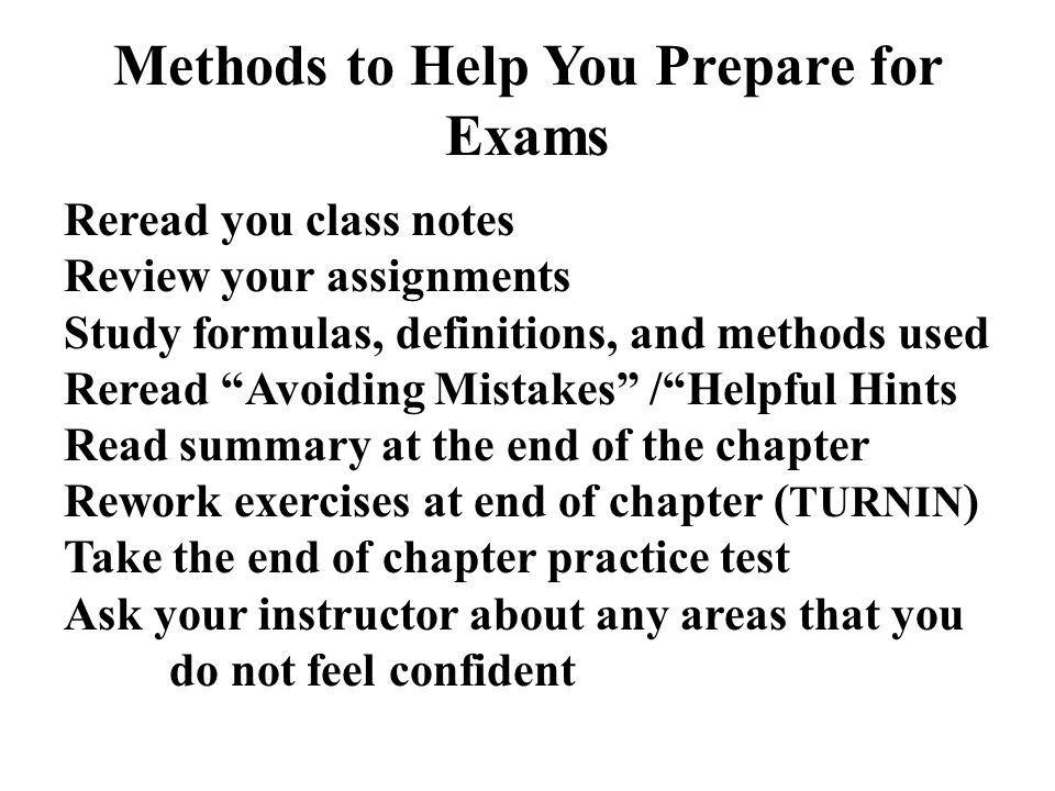 Methods to Help You Prepare for Exams