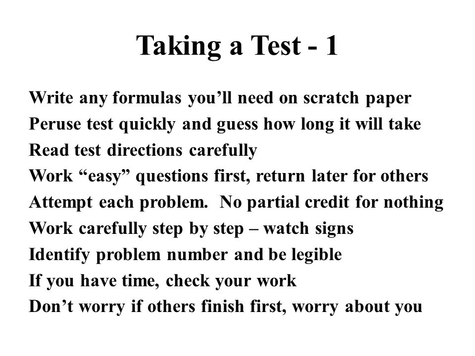 Taking a Test - 1