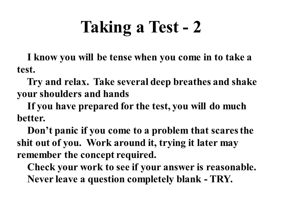 Taking a Test - 2