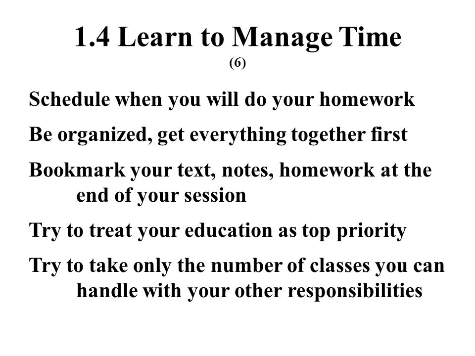 1.4 Learn to Manage Time (6)
