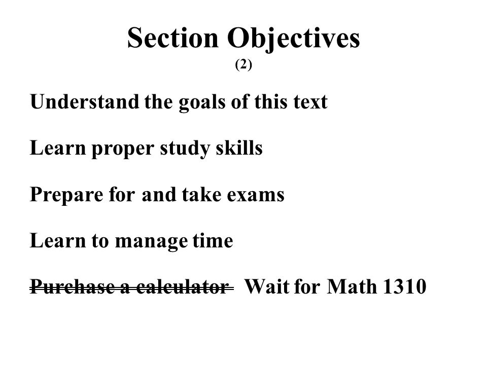 Section Objectives (2)