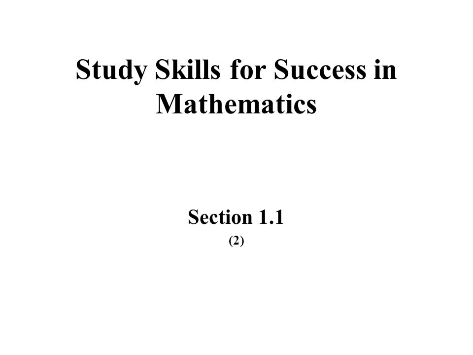 Study Skills for Success in Mathematics