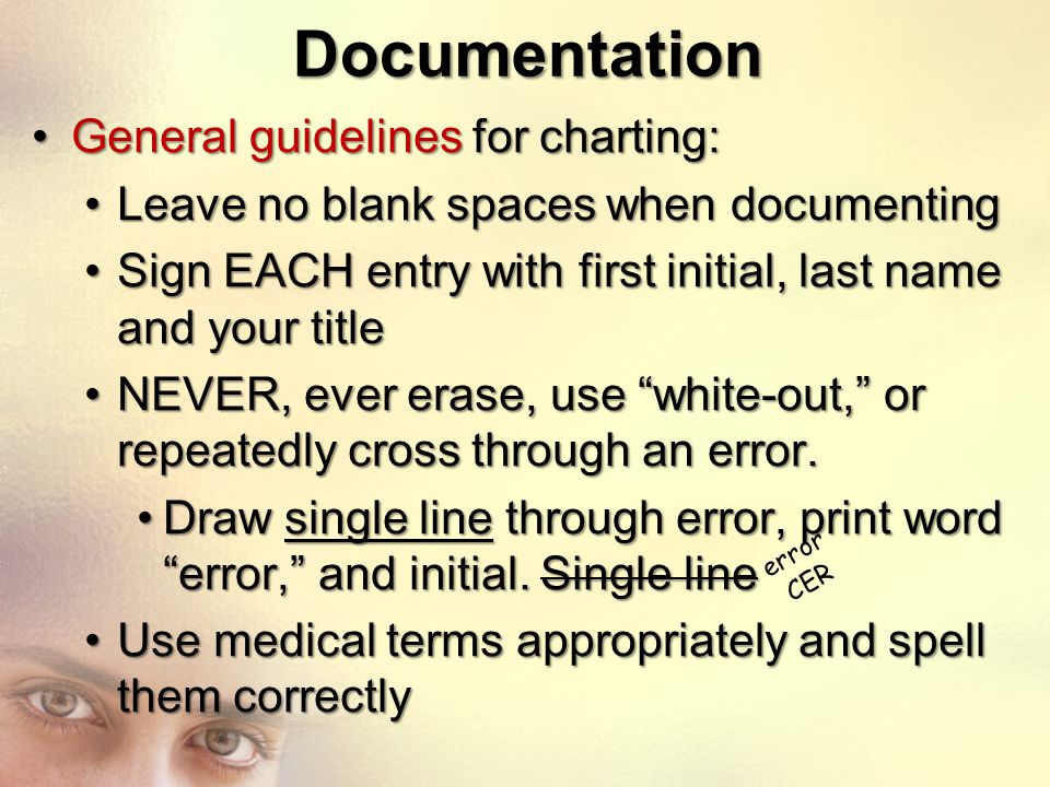 Documentation General guidelines for charting:
