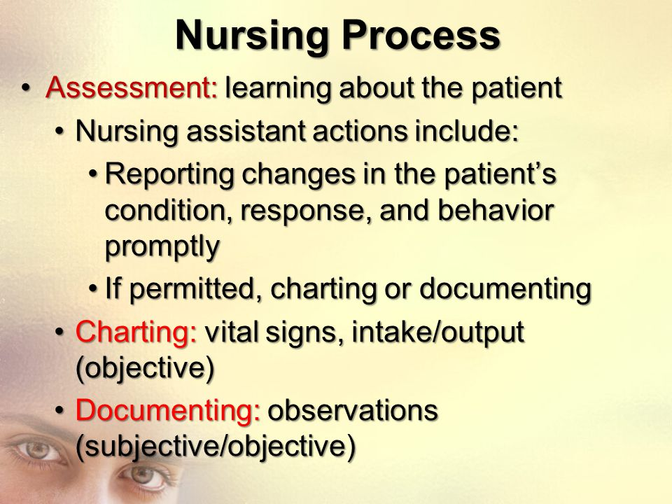 Nursing Process Assessment: learning about the patient