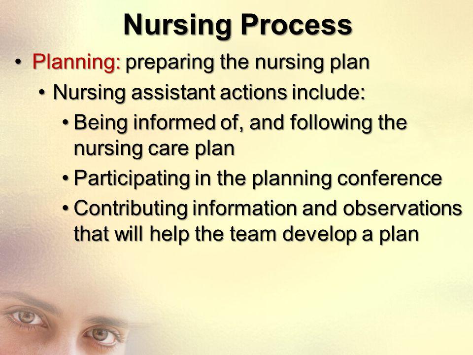 Nursing Process Planning: preparing the nursing plan
