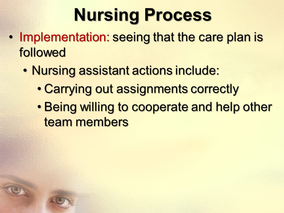 Nursing Process Implementation: seeing that the care plan is followed