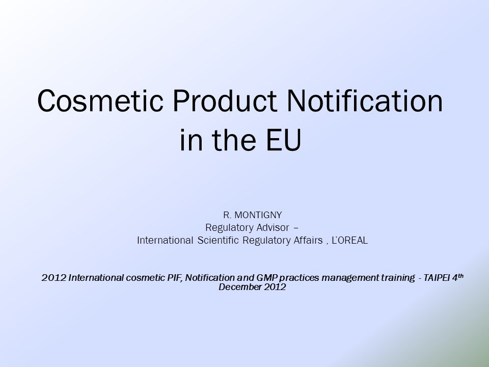Cosmetic Product Notification in the EU