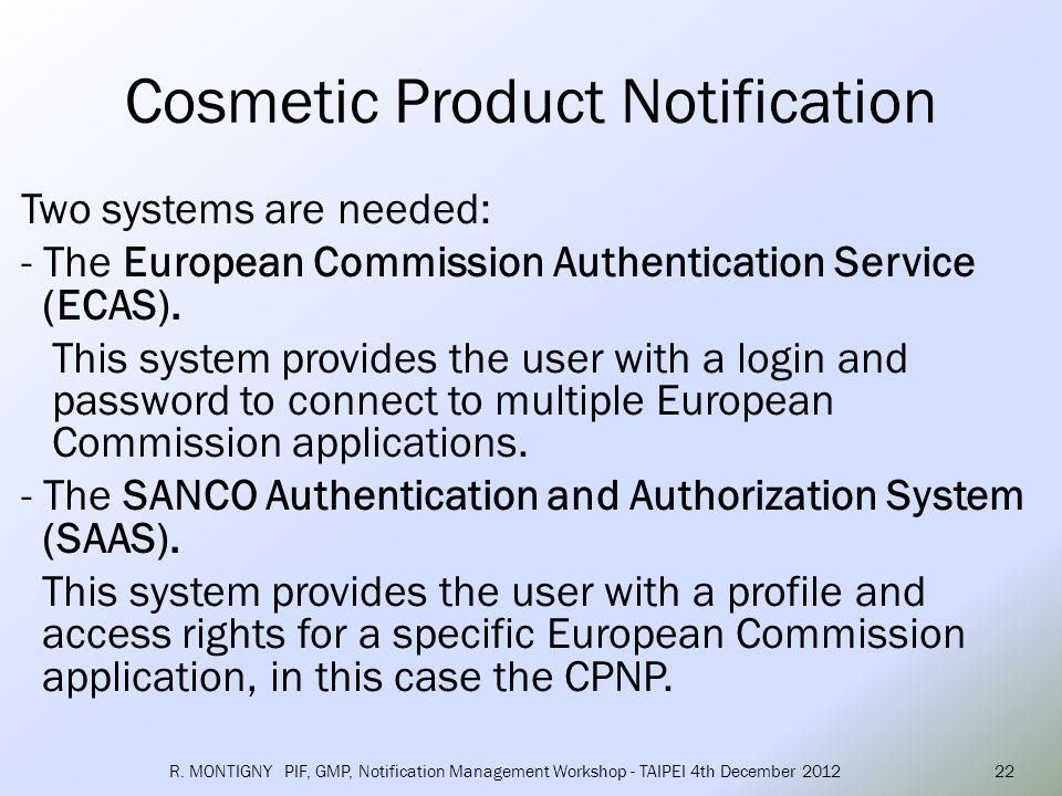 Cosmetic Product Notification
