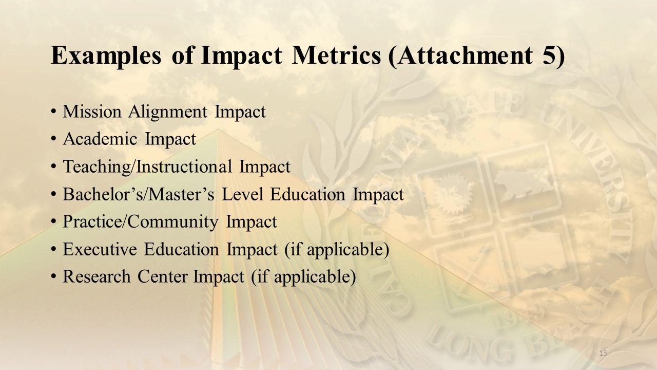 Examples of Impact Metrics (Attachment 5)