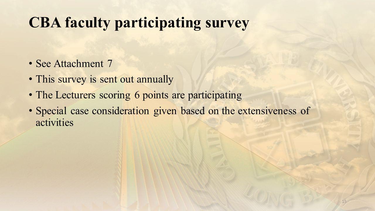 CBA faculty participating survey