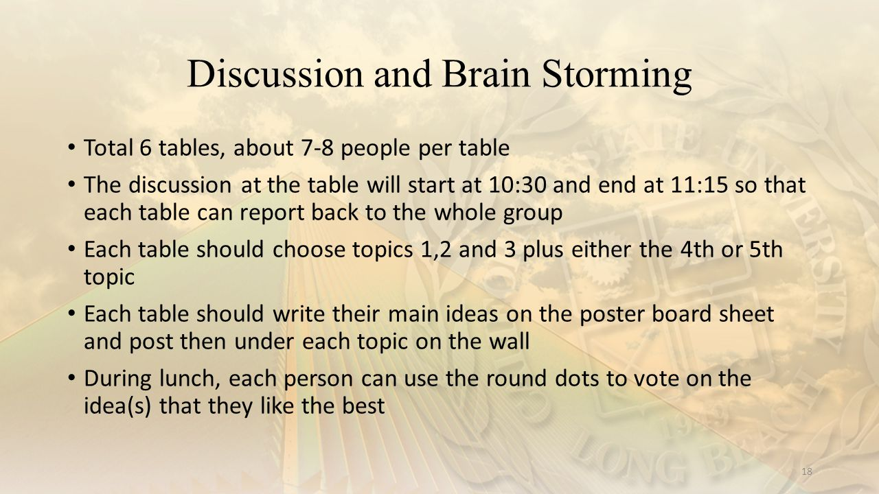 Discussion and Brain Storming