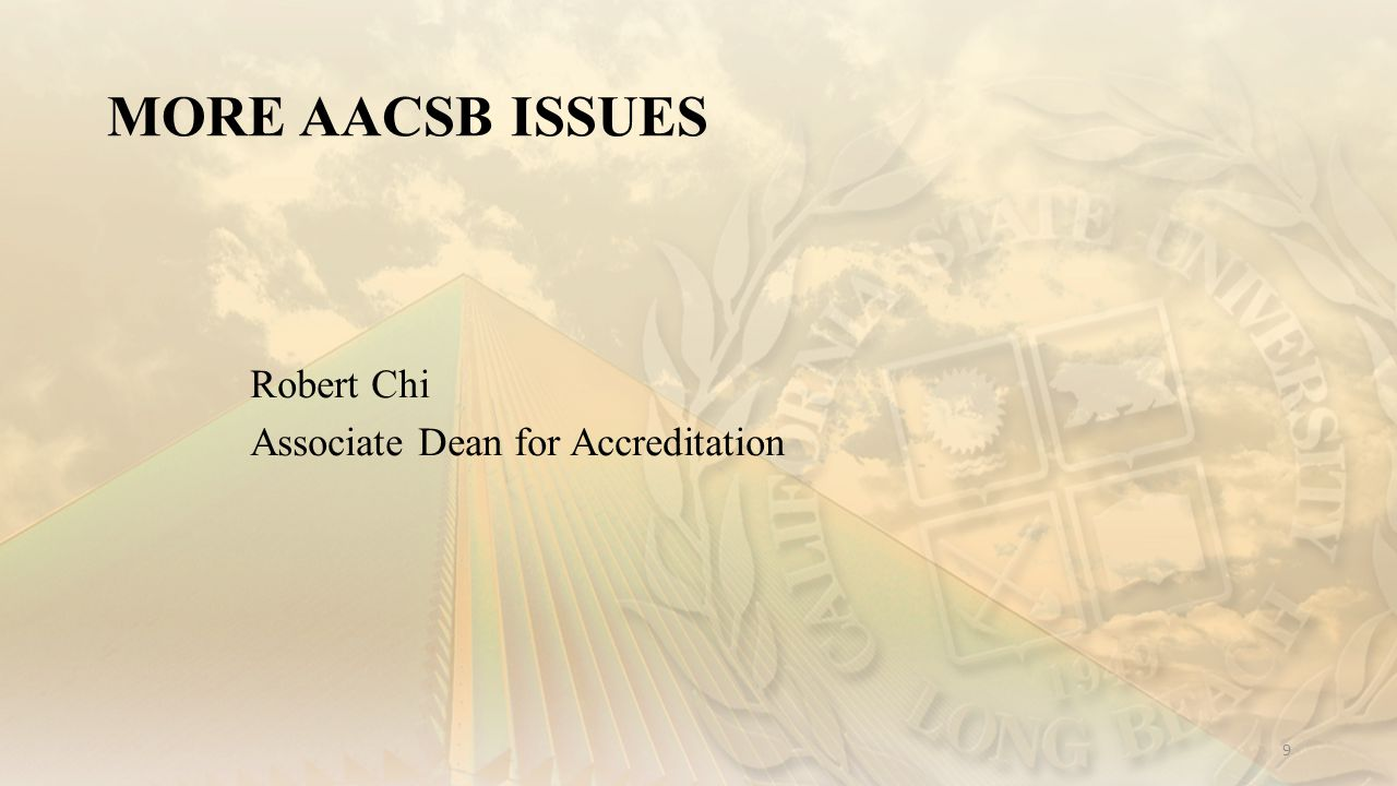 MORE AACSB ISSUES Robert Chi Associate Dean for Accreditation
