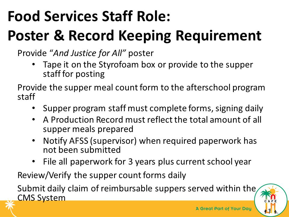 Food Services Staff Role: Poster & Record Keeping Requirement