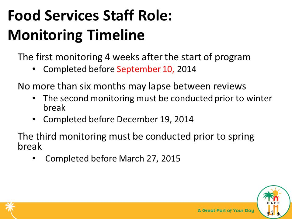 Food Services Staff Role: Monitoring Timeline