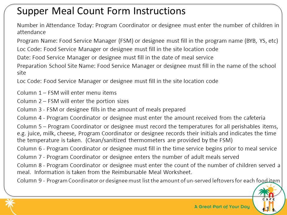 Supper Meal Count Form Instructions