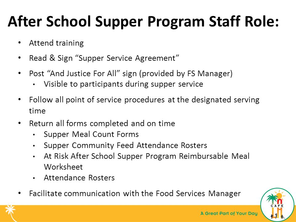After School Supper Program Staff Role: