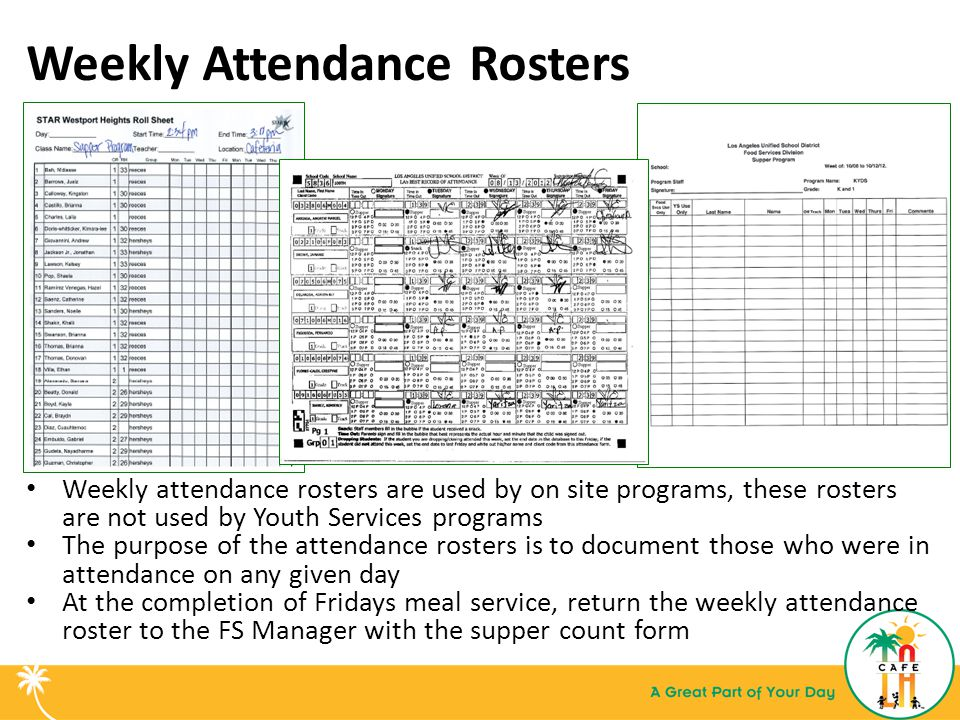 Weekly Attendance Rosters