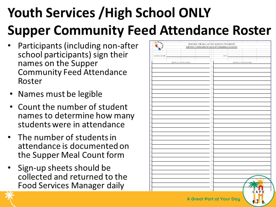Youth Services /High School ONLY Supper Community Feed Attendance Roster