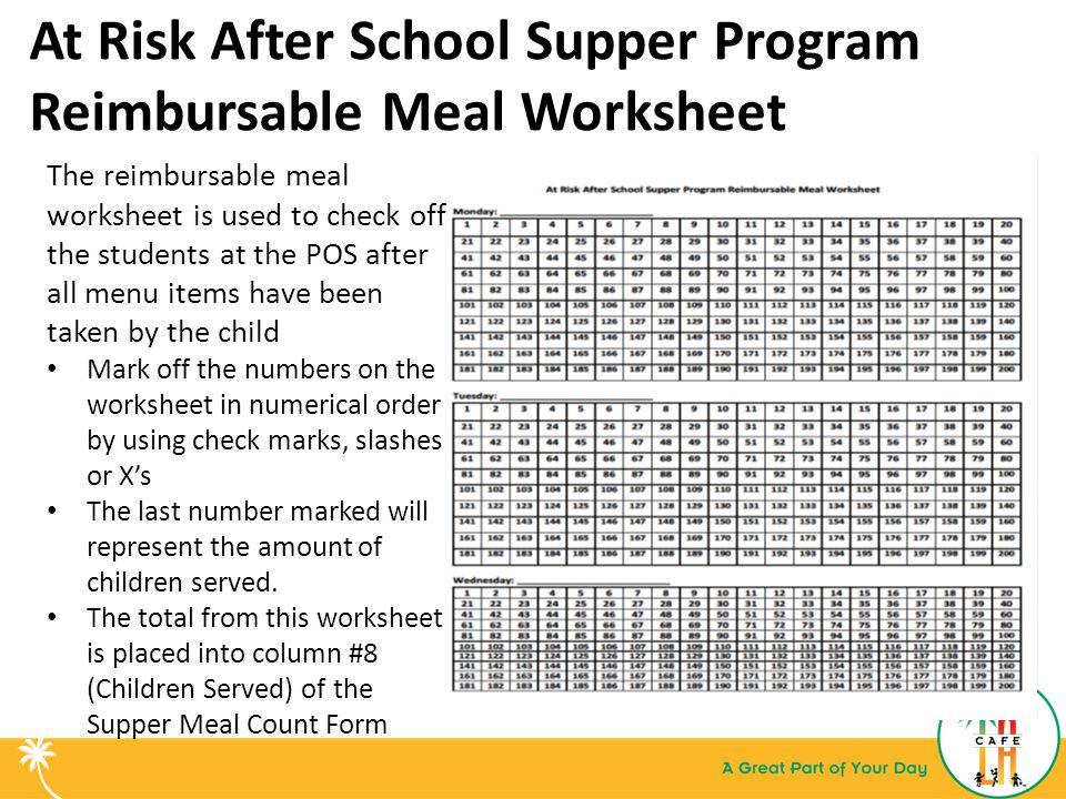 At Risk After School Supper Program Reimbursable Meal Worksheet