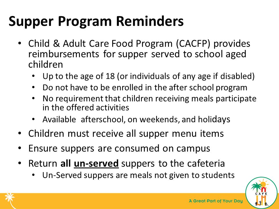 Supper Program Reminders