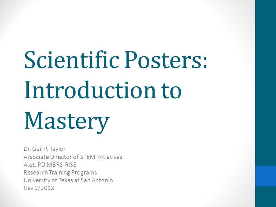 Scientific Posters: Introduction to Mastery