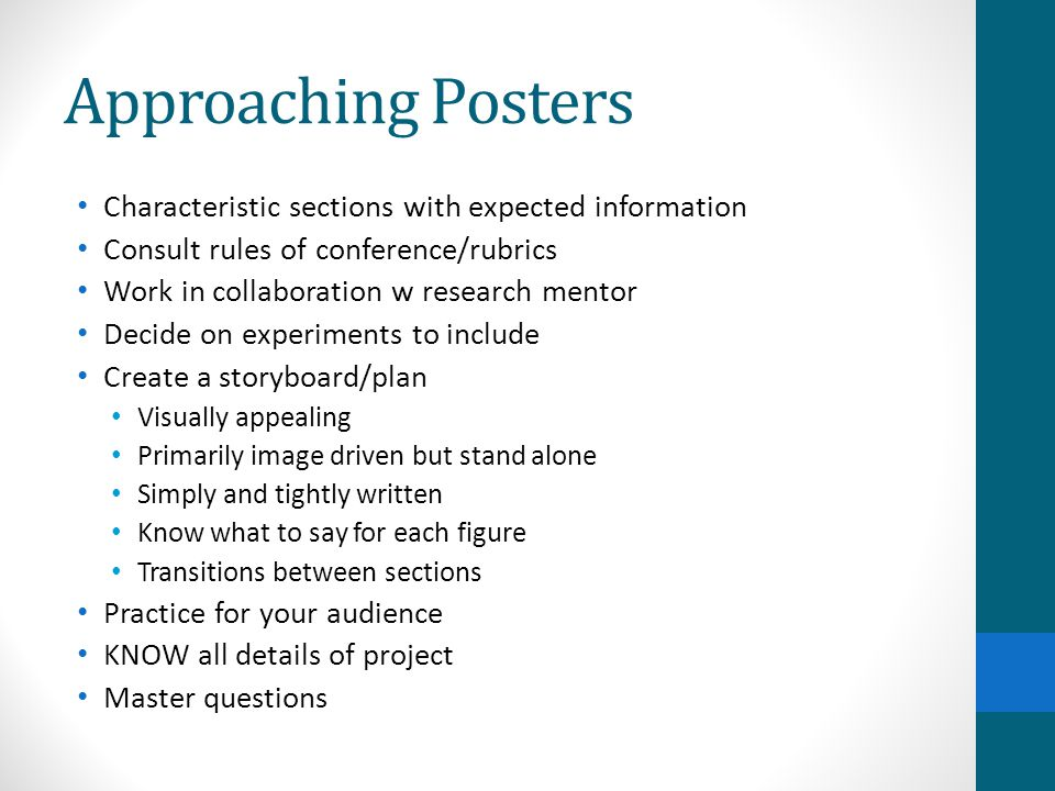 Approaching Posters Characteristic sections with expected information