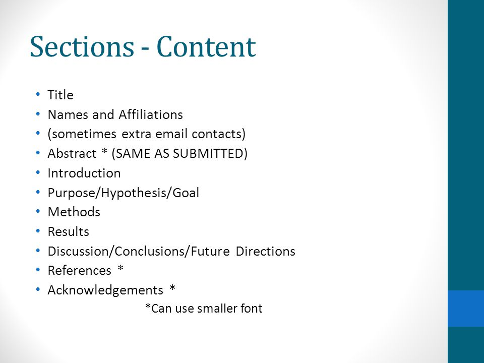 Sections - Content Title Names and Affiliations