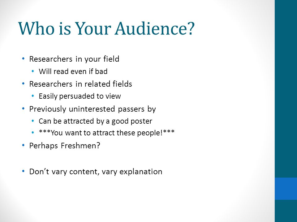 Who is Your Audience Researchers in your field