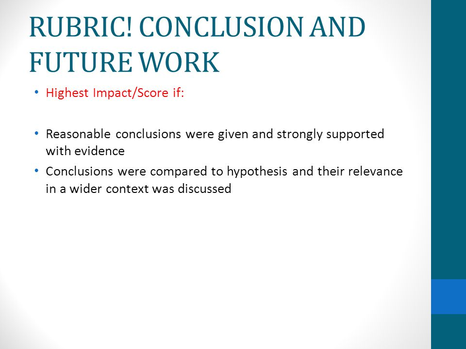 RUBRIC! CONCLUSION AND FUTURE WORK