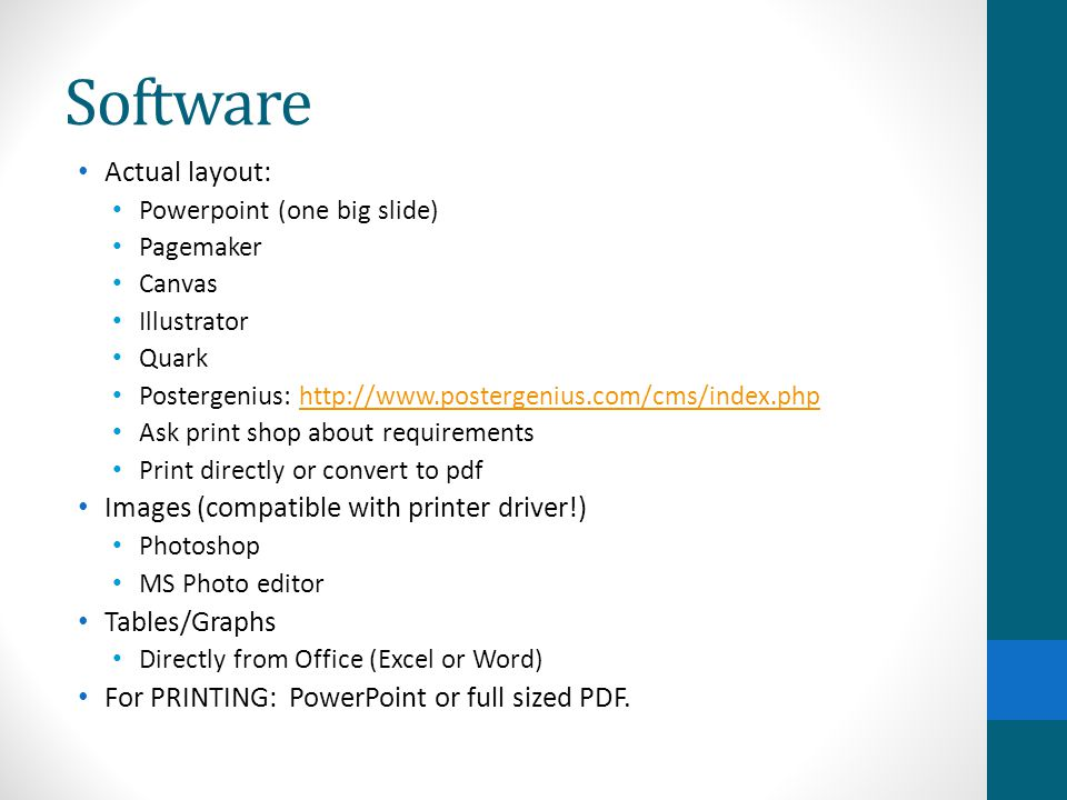 Software Actual layout: Images (compatible with printer driver!)