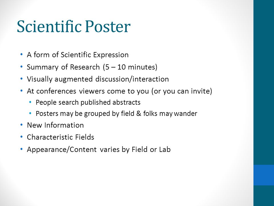 Scientific Poster A form of Scientific Expression