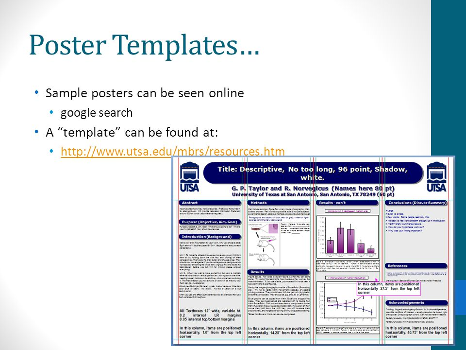 Poster Templates… Sample posters can be seen online