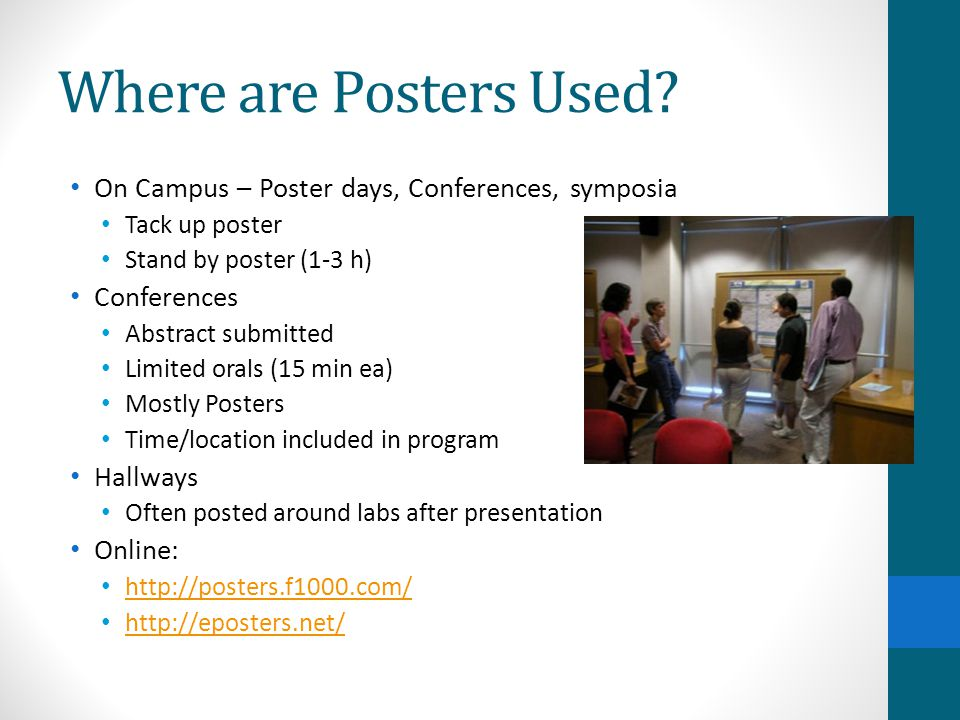Where are Posters Used On Campus – Poster days, Conferences, symposia