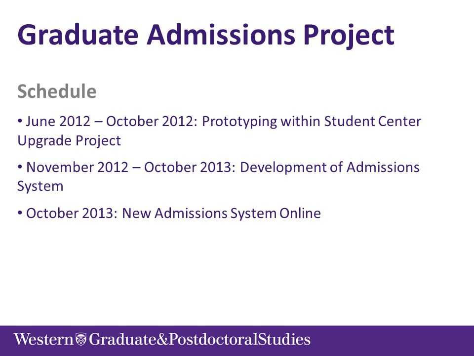 Graduate Admissions Project Schedule