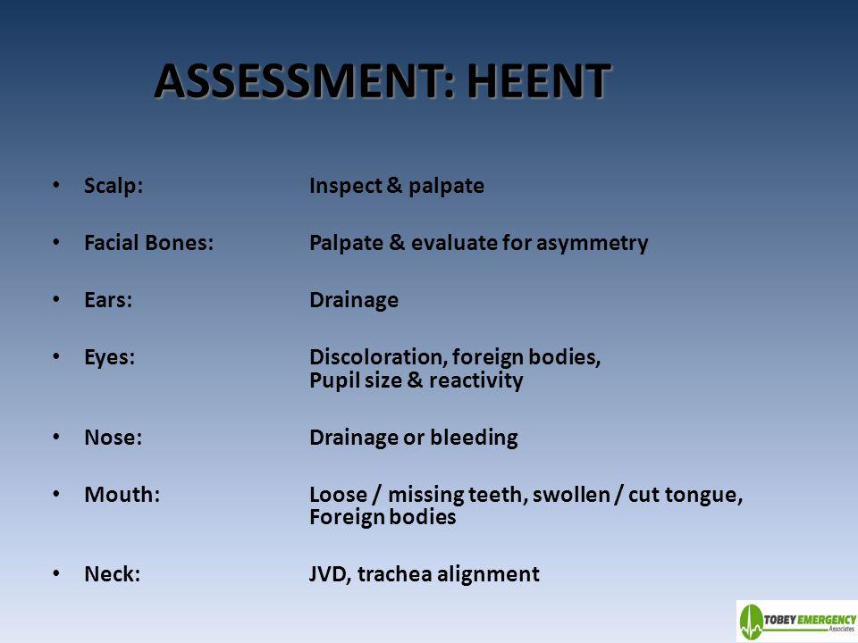ASSESSMENT: HEENT Scalp: Inspect & palpate