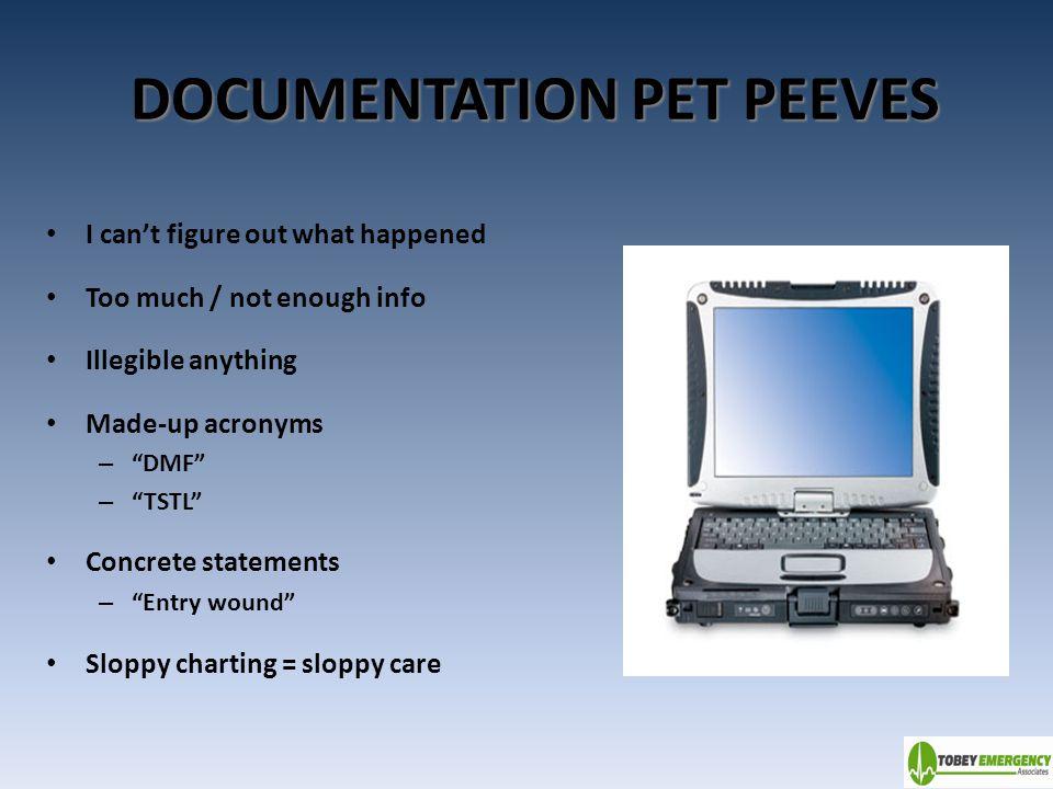 DOCUMENTATION PET PEEVES