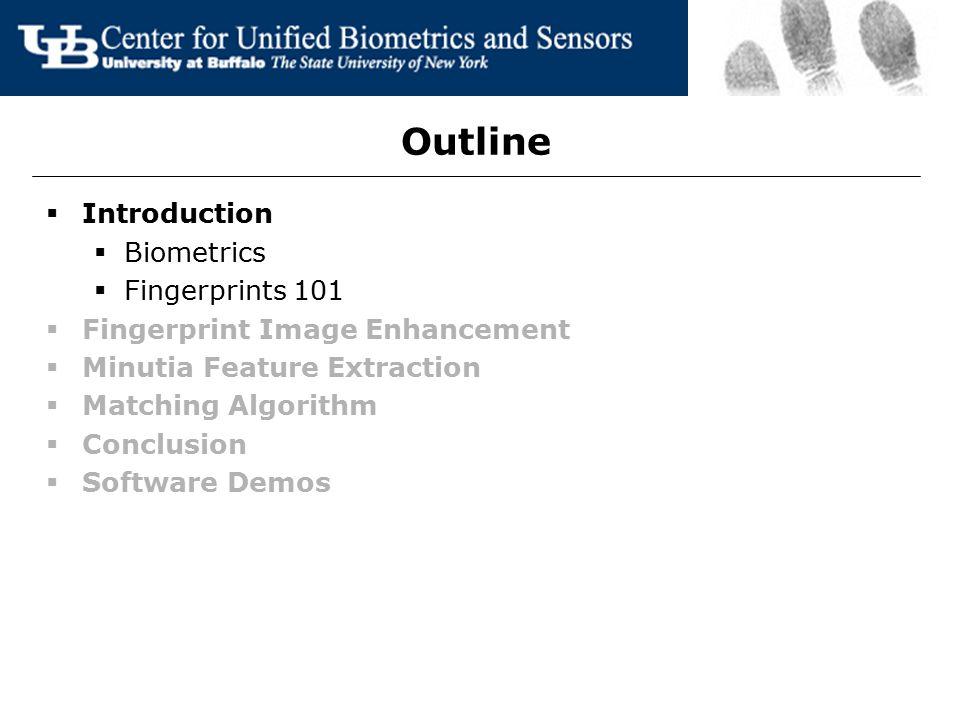 Outline Introduction Biometrics Fingerprints 101