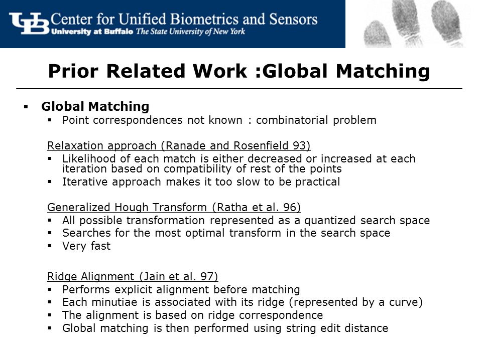 Prior Related Work :Global Matching