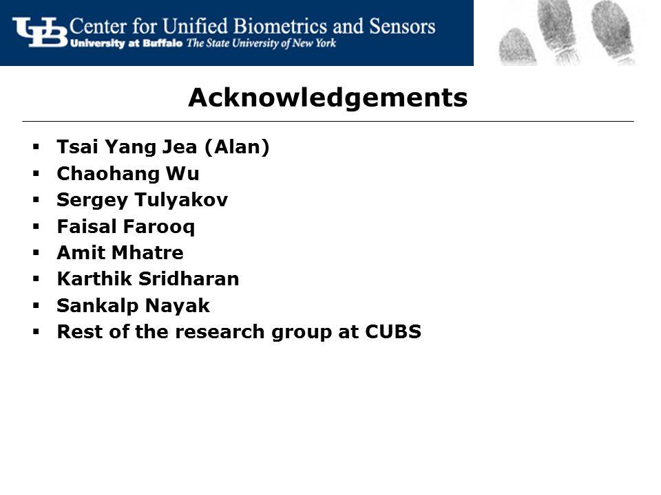Acknowledgements Tsai Yang Jea (Alan) Chaohang Wu Sergey Tulyakov