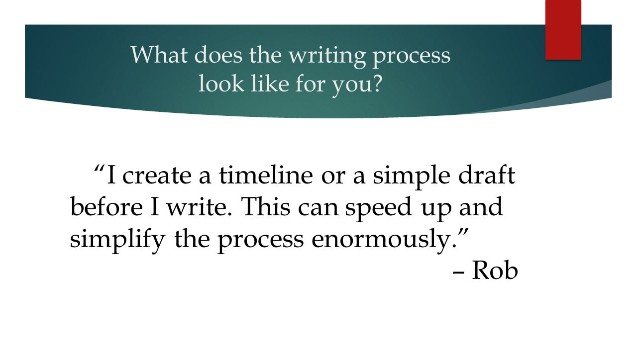 What does the writing process look like for you