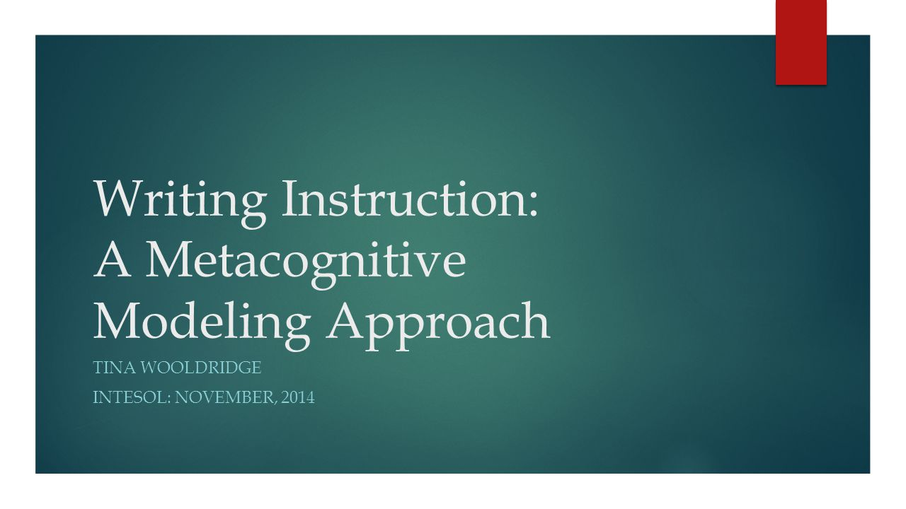 Writing Instruction: A Metacognitive Modeling Approach
