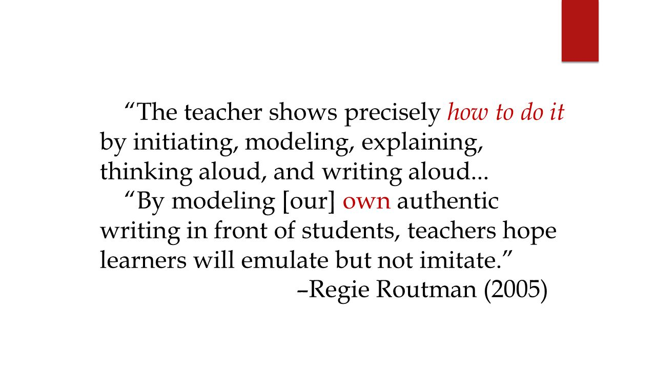 The teacher shows precisely how to do it by initiating, modeling, explaining, thinking aloud, and writing aloud...
