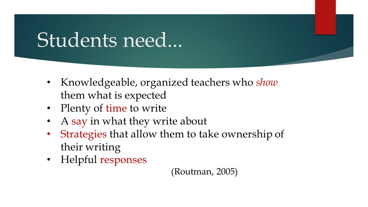 Students need... Knowledgeable, organized teachers who show them what is expected. Plenty of time to write.